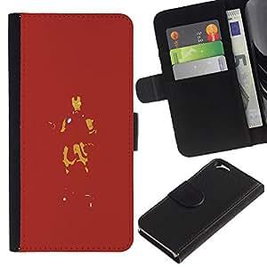 JackGot ( Red Iron Superhero ) Apple (4.7 inches!!!) iPhone 6 / 6S la tarjeta de Crédito Slots PU Funda de cuero Monedero caso cubierta de piel
