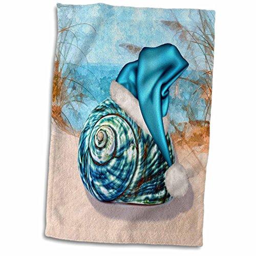 3D Rose Coastal Beach Christmas Seashell Blue Santa Hat twl_203017_1 Towel, 15