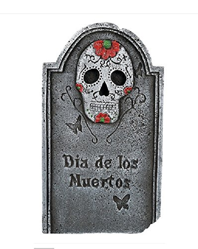 22-Inch Dia De Los Muertos Day of the Dead Cemetery Tombstone Prop with Skull - Hardened Foam