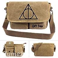 Harry Potter Message Bag The Deathly Hallows Hogwarts Canvas Satchel School Bag
