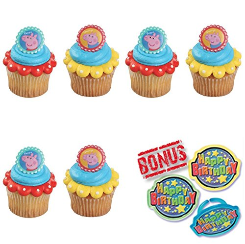 Peppa Pig Peppa and George Cupcake Toppers and Bonus Birthday Ring - 25 pieces