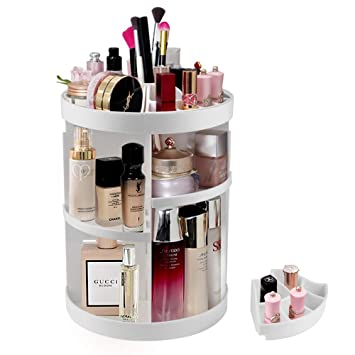 Merveilleux Amazon.com : Etmury Makeup Organizer, 360 Rotating Bathroom Counter Storage  Caddy Adjustable Large Capacity Nail Polish Jewelry Lipstick Display Shelf  White ...