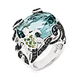 Cheryl M Sterling Silver CZ & Glass Simulated Blue Topaz Turtle Ring Size 8