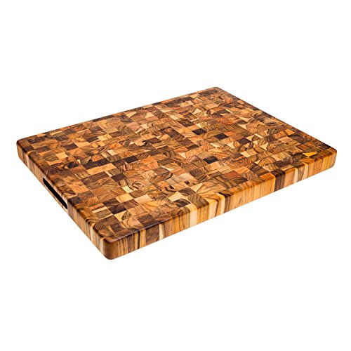 - Teak Cutting Board - Rectangle Butcher Block With Hand Grip ( 20 x 15 x 1.5 in.) - By Teakhaus
