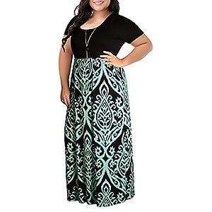 BALABA◕。Women Plus Size O Neck Boho Floral Print Patchwork Loose Long Dress Short Sleeve Retro Chevron Print Maxi Dress