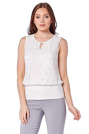 2aa2ef62999 Roman Originals Womens Floral Burnout Pattern Jersey Sleeveless Top ...