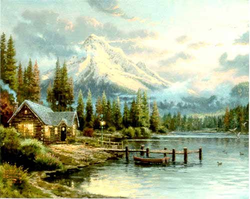 - 848A LAKESIDE HIDEAWAY Thomas Kinkade First issue Nature's Tranquility Collector Plate