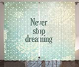 """Quotes Decor Collection Nostalgic &quotNever Stop Dreaming"""" Phrase over Retro Polka Dot Floral Backdrop Hazy Decor Living Room Bedroom Curtain 2 Panels Set Green Beige For Sale"""