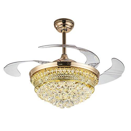 From RS Lighting 42 in Modern Luxury Crystal Fan Lights Mute Living Room Bedroom Led Energy Saving Fan Chandelier Stealth Ceiling Fan Lights by RS Lighting (Image #1)