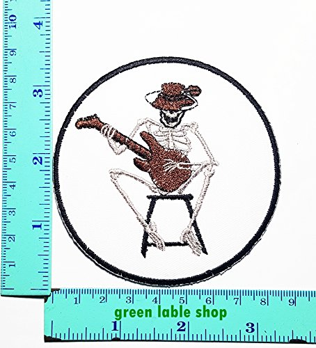 Social Distortion Skeleton Costume (Social Distortion Skull Skeleton Guitar Playing Biker Patch Logo Sew Iron on Embroidered Appliques Badge Sign Costume Send Free Registration