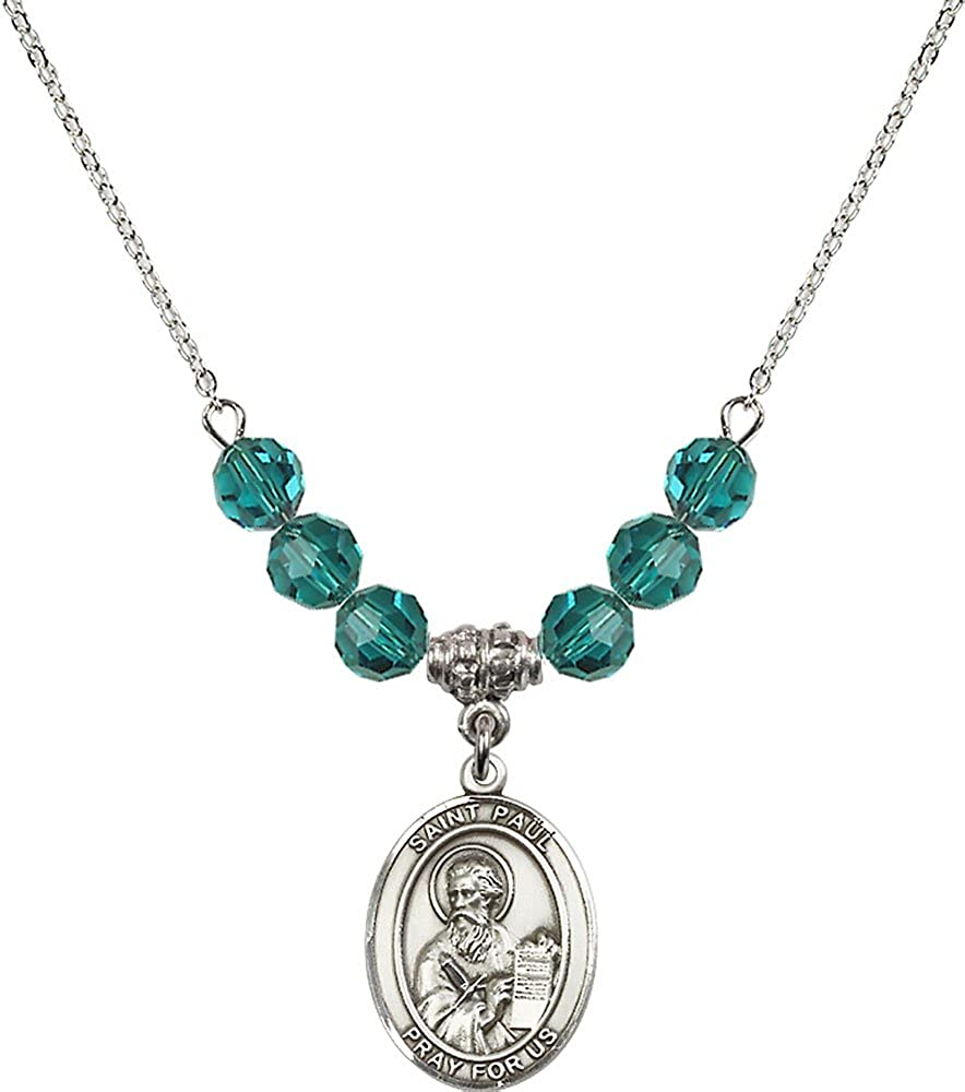 18-Inch Rhodium Plated Necklace with 6mm Zircon Birthstone Beads and Sterling Silver Saint Paul the Apostle Charm.