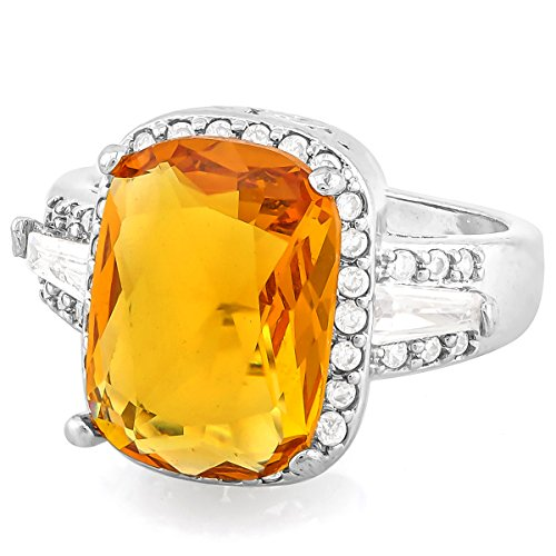 Glamouresq 14K White Gold Plated 6.50ct Created Cushion Cut Citrine & Round Cut White Sapphire Women's Ring Size 8 (Fashion Citrine Ring Cushion Cut)