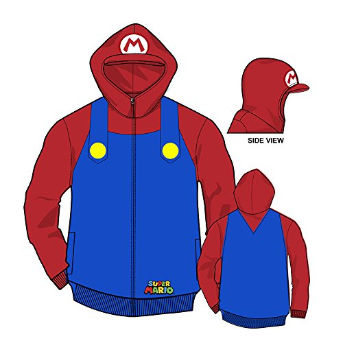 [Nintendo Mario Brothers Bill Men's Red Zip-Up Costume Hoodie-Blue/Red-Small] (One Up Mushroom Costume)