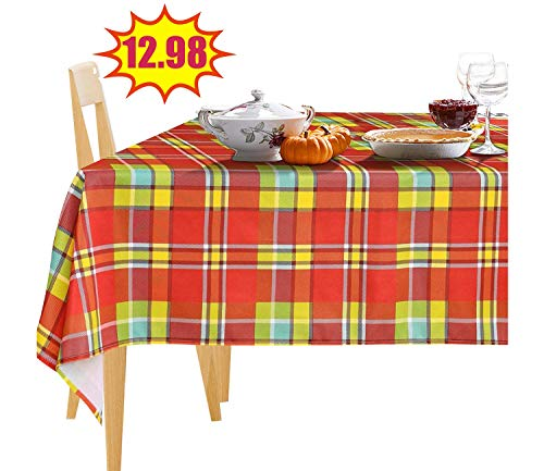 JIATER Modern Plaid Table Cloth Spillproof Polyester Fabric Rectangle Tablecloth (60 x 84, Red Green Plaid)