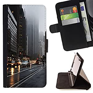 Momo Phone Case / Flip Funda de Cuero Case Cover - NYC New York Yellow Taxi lluvioso de la calle - Samsung Galaxy S5 V SM-G900