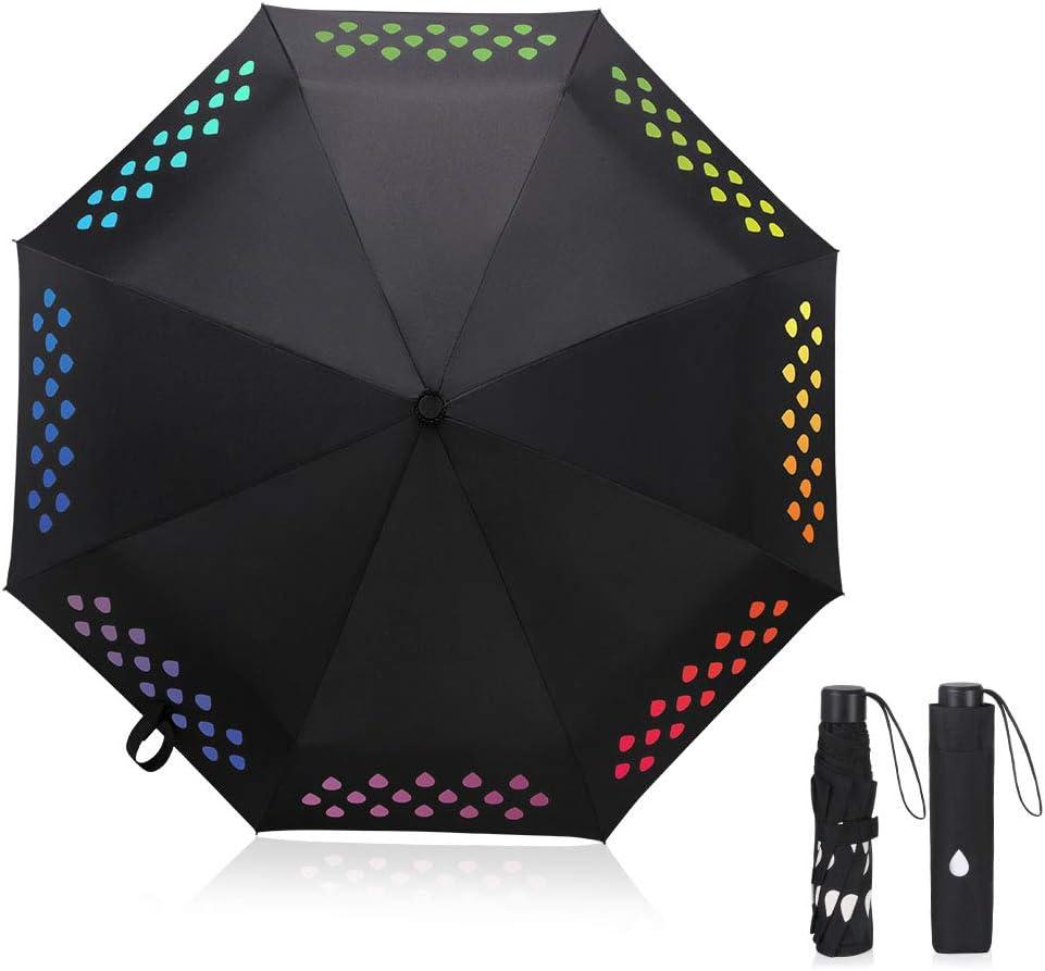 Vicloon Paraguas Que Cambia de Color,Mágico Paraguas Plegable con Gota de Lluvia Arco Iris y 8 Ballenas, Lluvia y Sombrilla de Sol, Regalo Ideal - 【Coloreado】