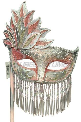 Pure Seasons Bellisima Festa Mask (Pink/Silver)-Standard (Pink Stick Mask)
