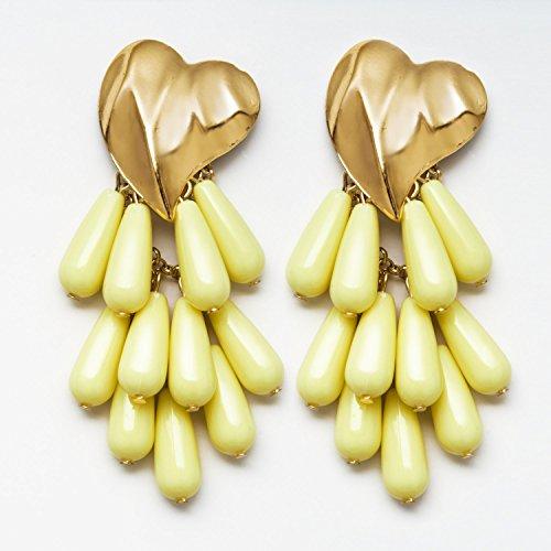 Eternity J. 2 Pairs Statement Earrings Heart Shaped Beads Tassel Dangle Drop Stud Earrings for Women Girls by Eternity J. (Image #3)
