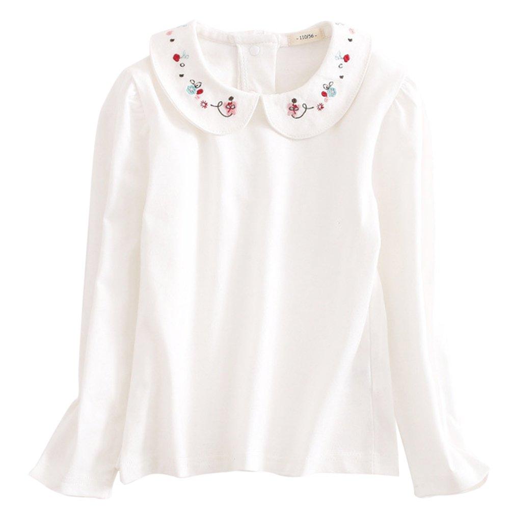 ASHERANGEL Girls Solid Long Sleeve Peter Pan Collar Blouse Tee White Tops