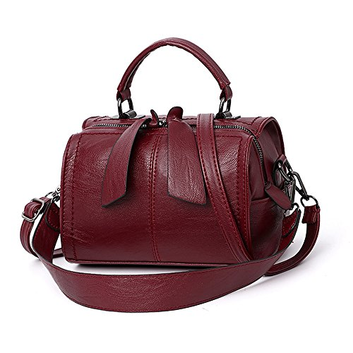 - Mn&Sue Women Small Boston Bag PU Leather Handbag Top Handle Barrel Design Satchel Crossbody Lady Purse (Wine Red)