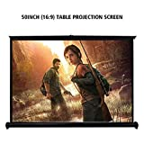 Projector Screen, HENZIN 50'' Diag HD 16:9 Portable Foldable Indoor Outdoor Pull Up Movie Projection Screens, Mini Manual Desk Screen for Home Theater/Office Presentation/Wedding Party