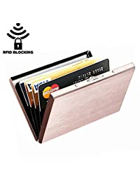 Hamosky Stainless Steel RFID Credit Card Holder Credit Card Wallet Protector RFID Metal Credit Card Case for Women Men (Rose Gold)