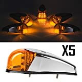 Partsam Truck Trailer LED bright Clearance Cab Marker Amber Light Universal VS-L157Y-9 5PCS