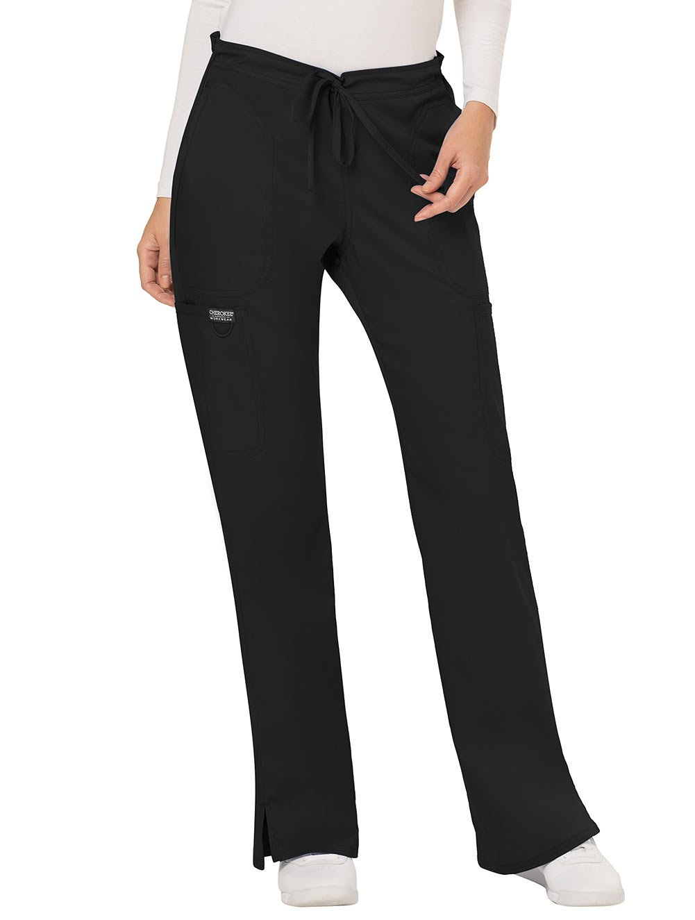 WW Revolution by Cherokee Women's Mid Rise Moderate Flare Drawstring Pant Petite, Black, X-Large Petite