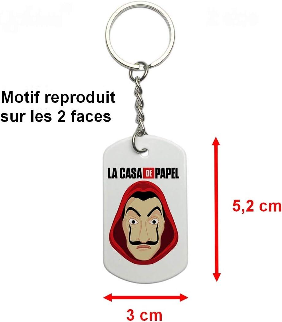 M/áscara y logotipo 5,2 cm La CASA De Papel Money Heist Llavero de metal Dog Tag