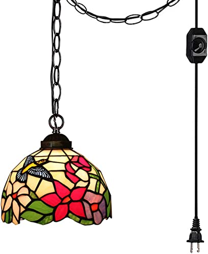 STGLIGHTING 15ft Plug-in Swag Pendant Lighting UL Dimmer Switch Cord with Iron Chain Tiffany Colorful Handmade Glass Shade Antique Chandelier Decorative Pendant Light Bulb Not Included TB0454