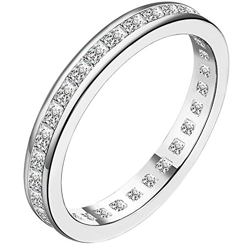 LWLH Jewelry Womens 4MM 18K White Gold Plated CZ Paved Stackable Love Eternity Ring Diamond Wedding Band Szie 7