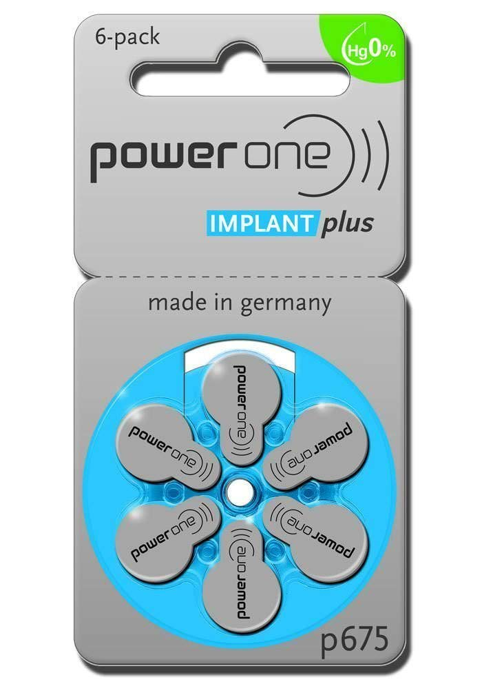 60 Powerone Mercury Free Hearing Aid Batteries Size: 675P Cochlear Implant by PowerOne