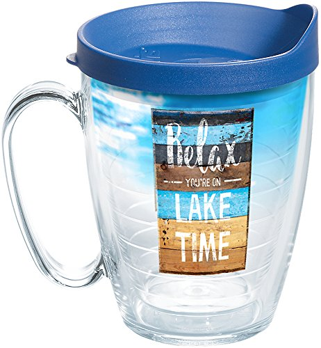 Tervis 1258396 Relax You'Re on Lake Time Insulated Tumbler with Wrap and Blue Lid, 16oz Mug, Clear