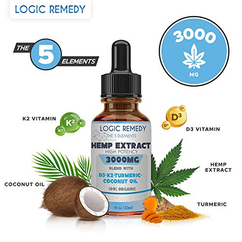 LOGIC REMEDY The 5 Elements (3000 mg) Hemp Oil-Pain, Anxiety Relief, Healthy Mood, Sleep, Skincare Support (Daily dose of Coconut, Turmeric, Vitamin D3&K2)