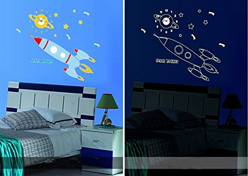 Creative Spacecraft Luminous with Clock Wall Stickers Living Room Bedroom Decoration Living Room Tv Sofa Background Wallpaper Wall Sticker Decal Removable Art Wall Sticker Home Décor