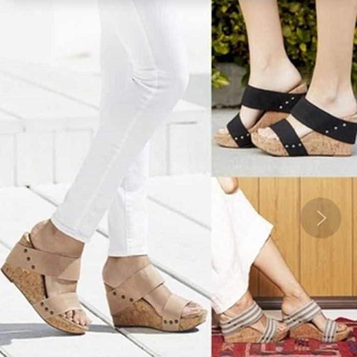 LMMET Sandali Donna Eleganti con Tacco Zeppa Scarpe Donna Eleganti Estive Zeppa Sandali Donna Eleganti con Plateau Sandali Donna Tacco Alto Bicolore Pantofole Romane