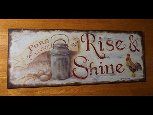 Rise & Shine Cream Dairy Milk Can Rooster Chicken Kitchen Home Decor Sign