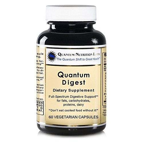 Quantum Digest, 120 veg caps (2 Bottles) - Vegan Source Enzymes for Full Spectrum Premier Digestive Support For Fats, Carbohydrates, Proteins and Dairy