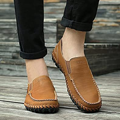 Abby 9522 Mens Slip on Shoes Driving Casual Classical Job Smart Leather Slip On Sneakers