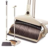 Extended Broom and Dustpan Set- 50' Long Handle Rotatable Self Cleaning Broom and Dust Pan with Long Handle, Standing Upright Grips Sweep Set with Lobby Broom Combo Set for Kitchen Garden Garage-Beige