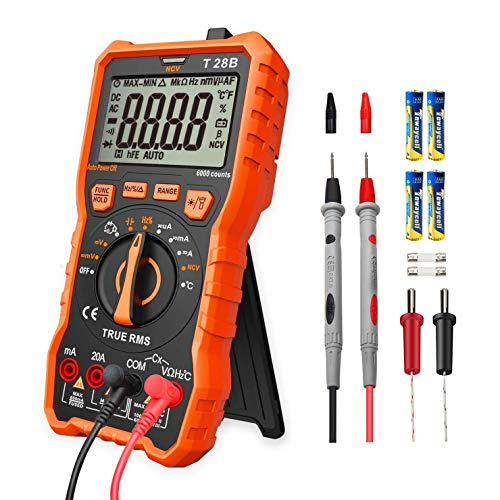 (LOMVUM Auto-Ranging Digital Multimeter, 6000 Counts Electrical Tester AC/DC Voltage Current Detector, NCV, Resistance, Capacitance, Diode Electronic, Duty Cycle Tester, 2.7 Inch LCD T28B)