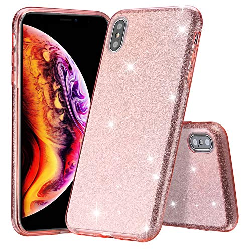 ProCase Glitter Case for iPhone Xs Max, Cute Sparkle Bling Luxury Soft Bumper Case Protective Cover (Supports Wireless Charging) for Girls Women for Apple iPhone Xs Max 6.5 Inch 2018 Release -Pink