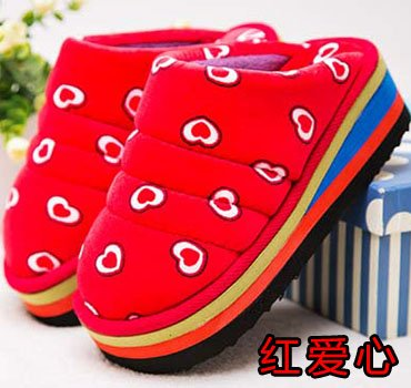 LaxBa Ladies Cachemire tricoté coton Anti-Slip Chambre Rouge love heart40-70