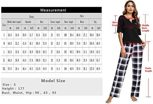 Women's Pajamas Set V-Neck Cotton Short Sleeve Sleepwear Long Pants Plaid Nightwear Soft Pjs Lounge Sets with Pockets S-XXL