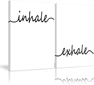 Inhale Exhale Wall Art Canvas Prints Paintings Posters Minimalist Wall Art Meditation Wall Art Black and White Pictures for Bathroom Bedroom Living Room Office Decor Framed Ready to Hang (12