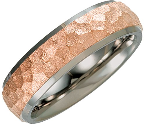 Rose Gold IP Hammered Dome Comfort-Fit 7mm Titanium Band, Size 12 by The Men's Jewelry Store (Unisex Jewelry)