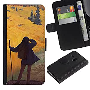 LECELL--Cuero de la tarjeta la carpeta del tirón Smartphone Slots Protección Holder For Samsung Galaxy S3 MINI 8190 -- Chica linda en el desierto --