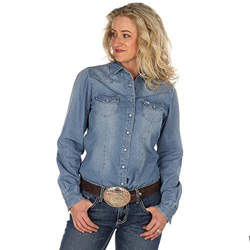 - Cinch Apparel Womens Med Stonewash Chambray Shirt S Denim