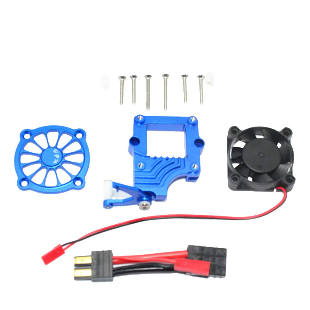 Soosch GPM Aluminum Alloy Motor Cooling Fan Easy Switch Set for Traxxas TRX-4 Racer, Key Hider Magnet Tire Inside Mount Fuse Kit Gas Can Parts Kia Tool Cover (Blue)