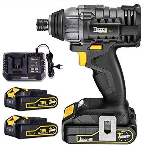 Teccpo Impact Driver, Cordless Impact Driver, 18V, 180Nm High Torque, 2x 2.0Ah Batteries, 30Min Fast Charger 4.0A, 2900Rpm, 4000Bpm, Variable Speed and 6.35Mm Quick Chuck, Best Gift for Diy - Tdid01P